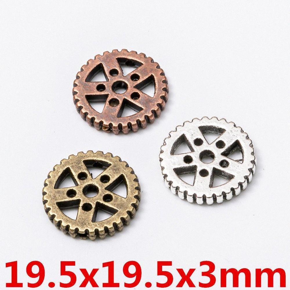 prata 50pcs 19MM Vintage subiu encantos conector engrenagem ouro antigo pingentes de bronze para colar pulseira brinco DIY jóias vkHf #