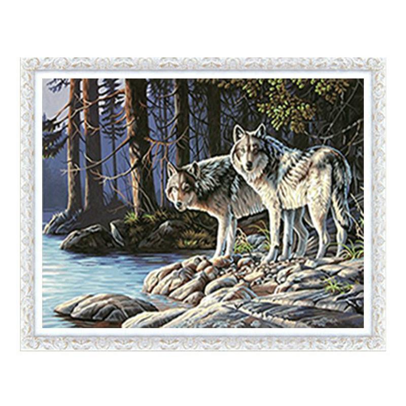 Два Аляскинский Sled Dogs 5D Алмазный Круглый Rhinestone Вышивка Картина DIY Вышивка крестом Kit Мозаика Draw Home Decor подарок