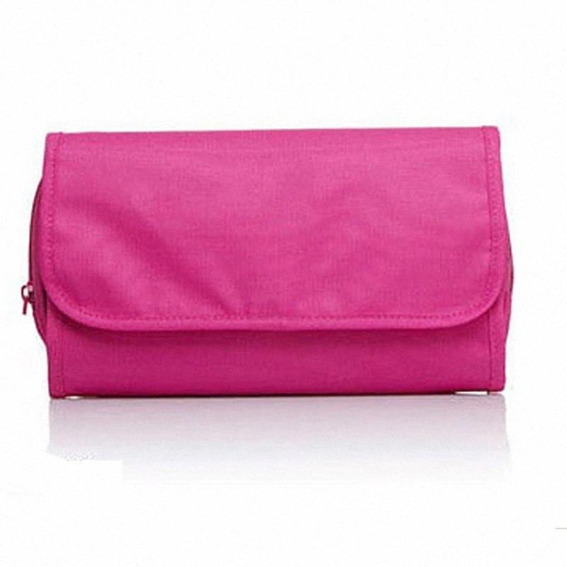 De Higiene Pessoal Makeup Bag Folding Hanging sólida com gancho Limpar Grande Capacidade de viagem malha Início lona armazenamento Wash Bolsa Acessórios 2pJC #