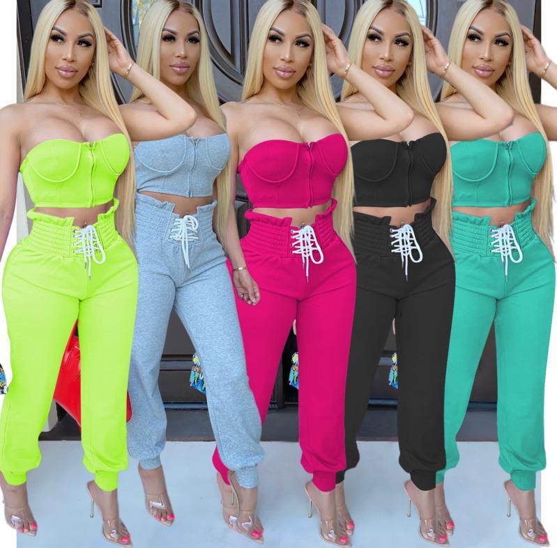 Os esportes das mulheres Outfits Designer Pants Zipper Peito Enrole longas Two Piece Set Clube Moda mangas colete calções fatos de jogging Casual Cy795