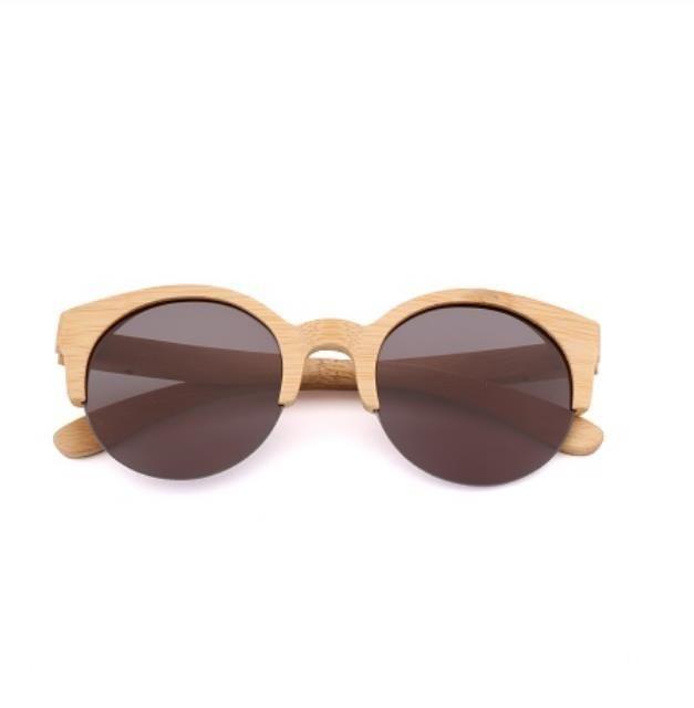 2017 Nueva BEMUCNA ojo de gato gafas de sol de diseñador de las mujeres semi-sin montura de las gafas de sol de madera bambú de los hombres Gafas de sol para los hombres UV400