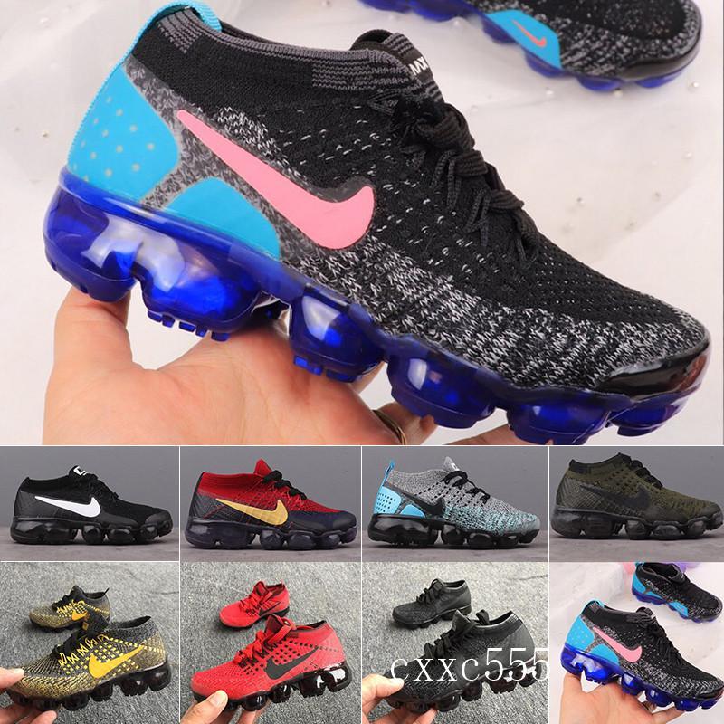 nike Vapormax air max flyknit 1.0 2.0 2018 enfants Chaussures de sport pour enfants Garçons Chaussures de basket-ball Enfant Huarache Blue Legend Concepteurs Sneakers Taille 28-35