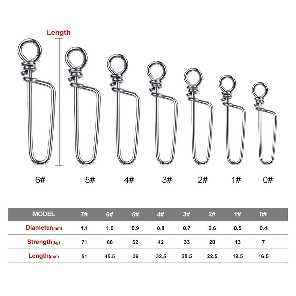 100pcs Fishing Coastlock Snap Barrel Swivel Stainless Steel Hook Fast Clip Lock Snap 17mm-51mm Swivel Snap 0#-7# Fishing swivels