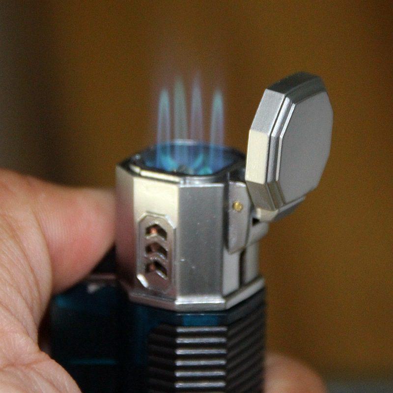 2020 puissant 4 buses torche gazeuse à gaz coupe-vent cutané butane turbon tuyau gonflable tuyau de cigare 1300 C pistolet pistolet gratuit 4 cadeau d'incendie pour homme