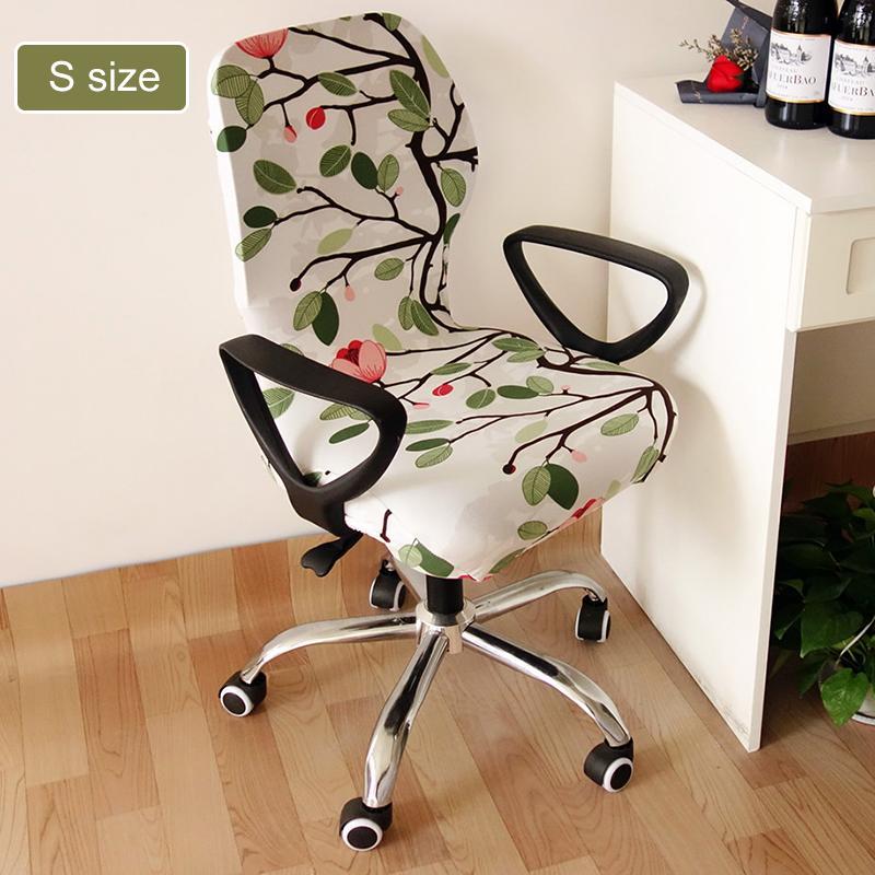 hojas impresas de flores elástica computadora de oficina silla de cubierta lavable extraíble Butaca Cubierta Funda giratoria de estiramiento Ascensor