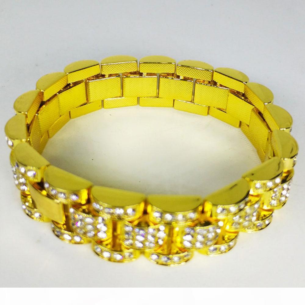 I Mens 18k Gold Plated Full Cz Bling Bling Watch Band Link Chain Bracelets 15mm 19cm Hip Hop Style Classic Bike Bracelet