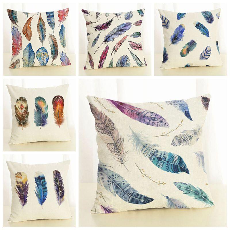красочные перо подушки покрытие Boho бросить наволочки для софы гостиной диван кресло льняной ткани cojines 45см almofada