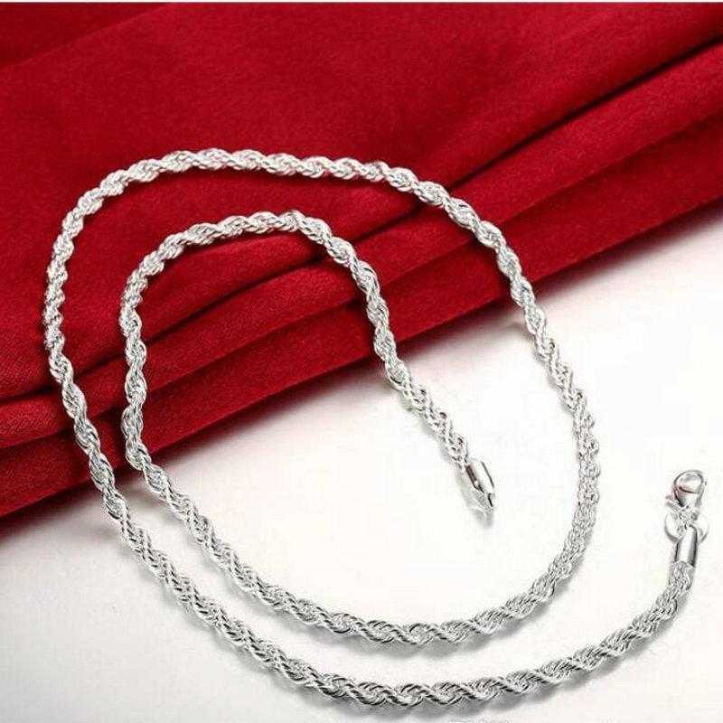 Новое прибытие флэш витой канат ожерелье мужчин серебро пластины ожерелье STSN067, способа 925 серебряные цепи ожерелье завод прямые продажи