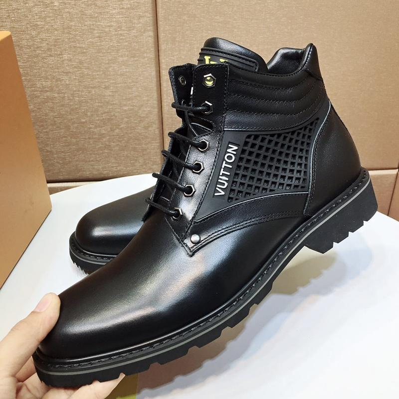 Fashion Men Shoes Boots Ankle Luxury Design Oberkampf Ankle Boot Lace -Up Leather Men Shoes Casual Winter Outdoor Chaussures Pour Hommes Sal