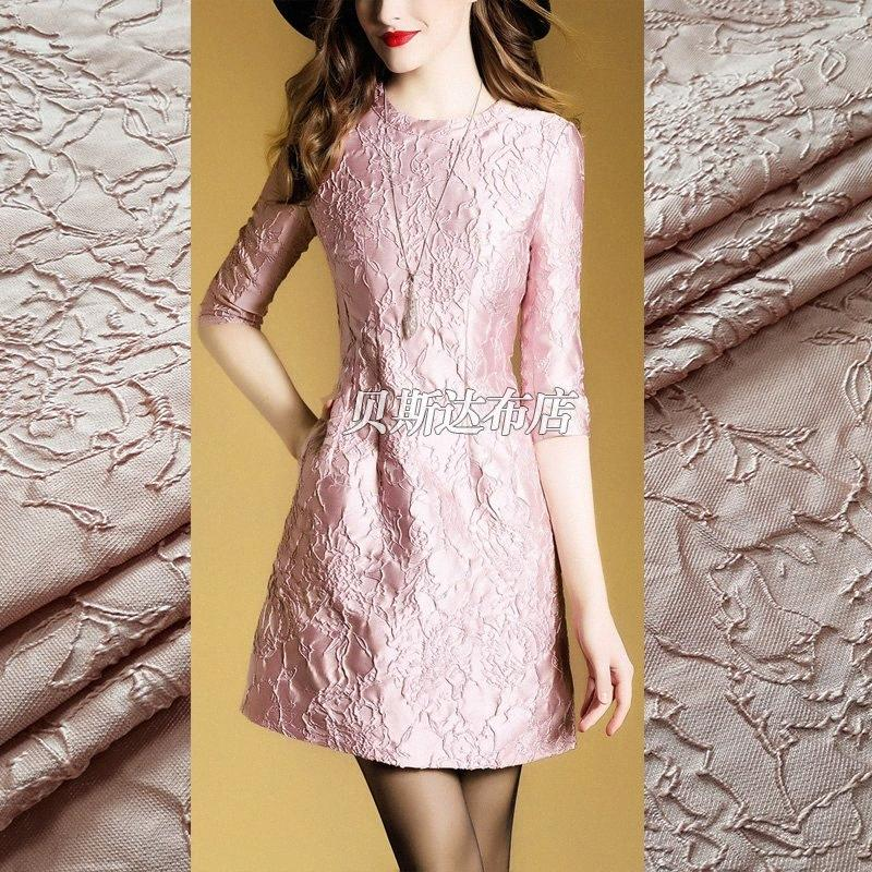 Vestido 0.5m Primavera Y Verano elegante grano oscuro Rose Jacquard Moda Telas de lujo Puffa falda Abrigo 1zbc #