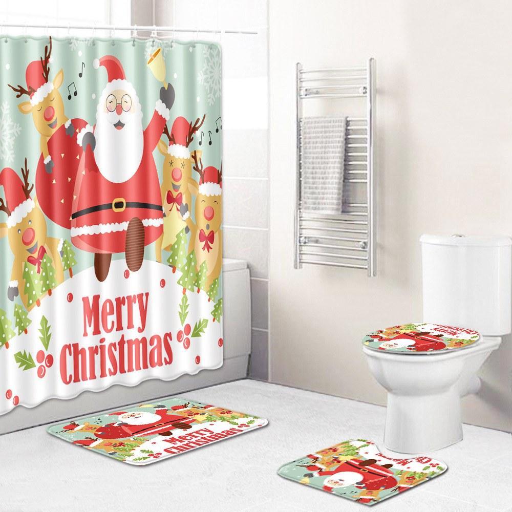 Новая цифровая печать Рождество творческий занавеска подушки набор туалет ковер ванной набор занавеска установлен санитарный раздел занавес