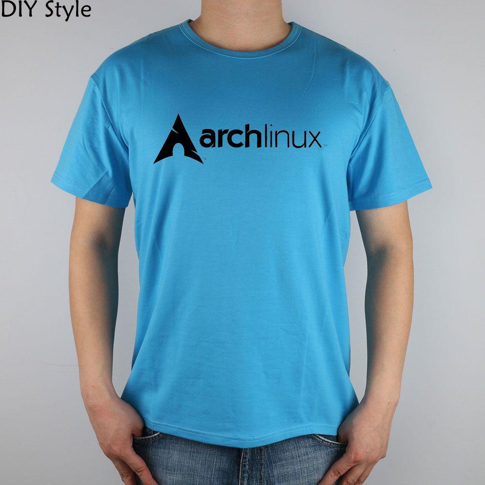 Superiore di Lycra uomo in cotone T shirt Archlinux logo Maglietta nera