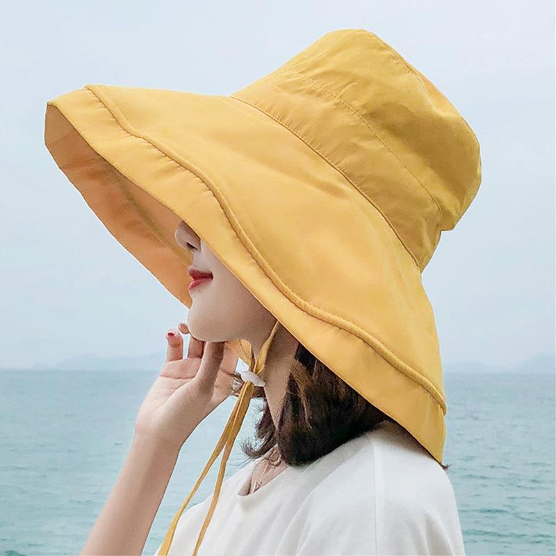 여성면 여름 일 모자 챙이 넓은 접이식 패션 비치 모자 조절 레이스 업 UV 자외선 차단 여성 캡 새로운 챙이 넓은 버킷 모자