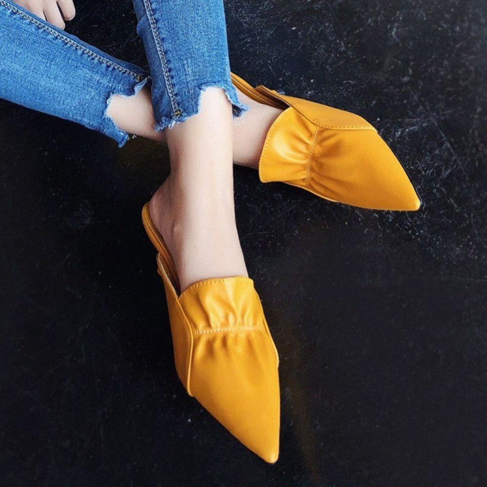 2019 New Verão Mulheres Mules Sapatos Mulher Chinelos Mulheres Bombas Ponto Toe Low Heel Comfort Bow Sandálias Slip On falhanços Femme OAAA #