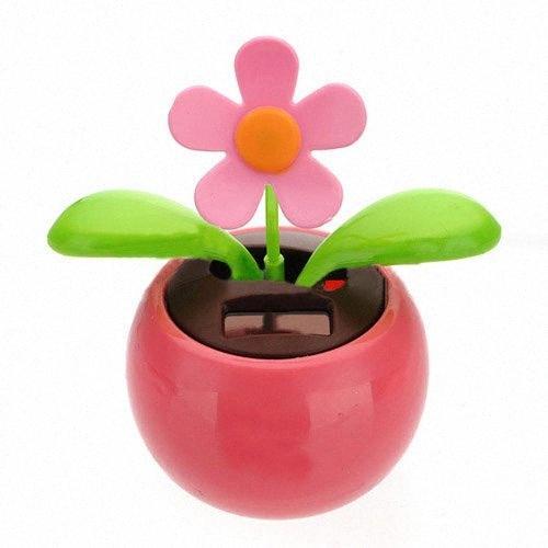 Flip Flap Solar Powered Flower Flowerpot Swing Dancing Toy Novelty Home Ornament Pink 1kPQ#
