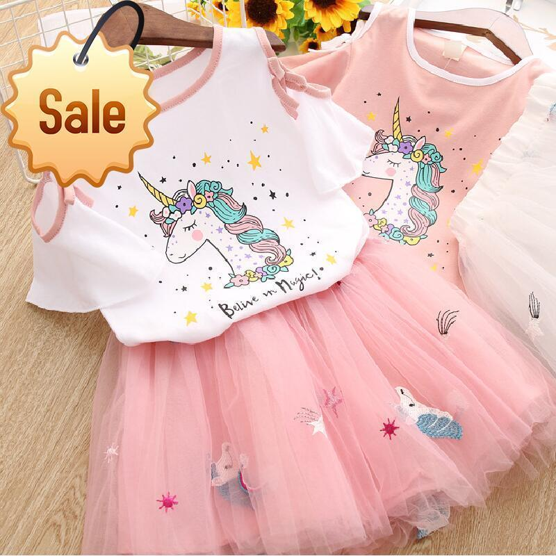 Niño de los cabritos de los bebés ropa del unicornio camiseta + tul falda 2pcs de cumpleaños Trajes Traje conjuntos de niños hijos de ropa de verano
