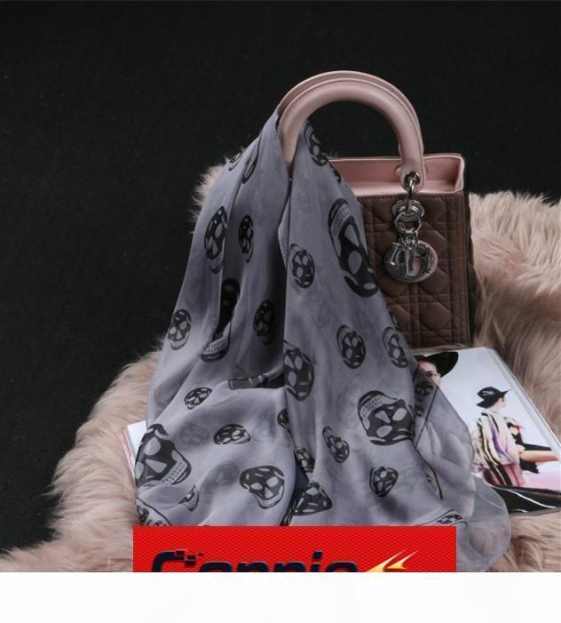 2019 superiore di vendita calda classica europea del progettista delle donne di stampa del cranio della sciarpa di seta signore eleganti Wrapbdb0 #