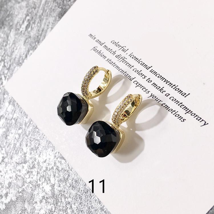 Beautifully colored copper with candy-colored calcite crystal earring stud gold set diamond earrings women fashion earring jewelry