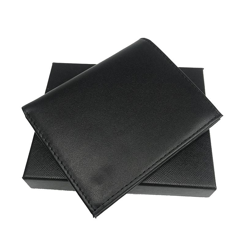 Card Wallet Fashion Bag Thin Style Men's Pocket Wallet Top Leather Credit Card Holder Handbag Folding Wallet Black Box Sandbag