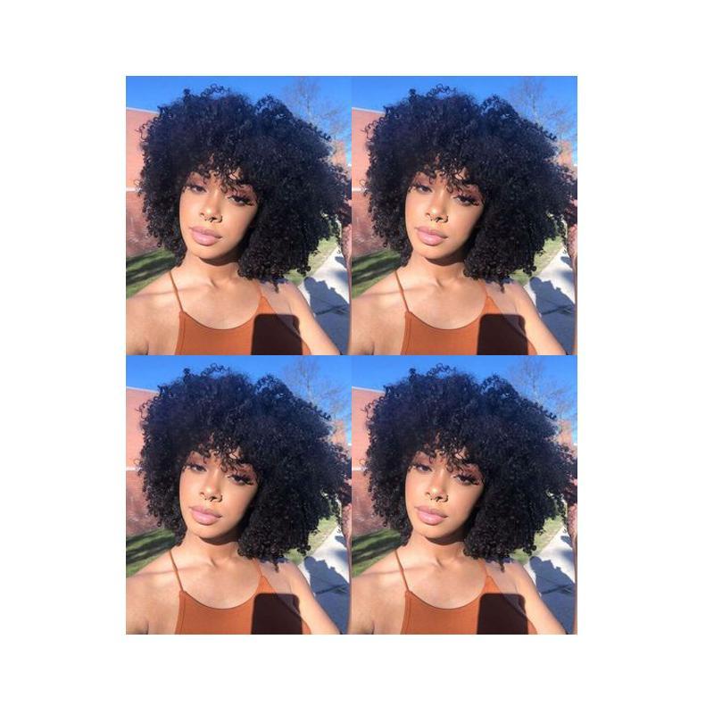 Новая прическа дамы бразильские волос Африканский Americ короткие вьющиеся естественный парик Моделирование человеческих волос Afro Kinky курчавый парик для женщин