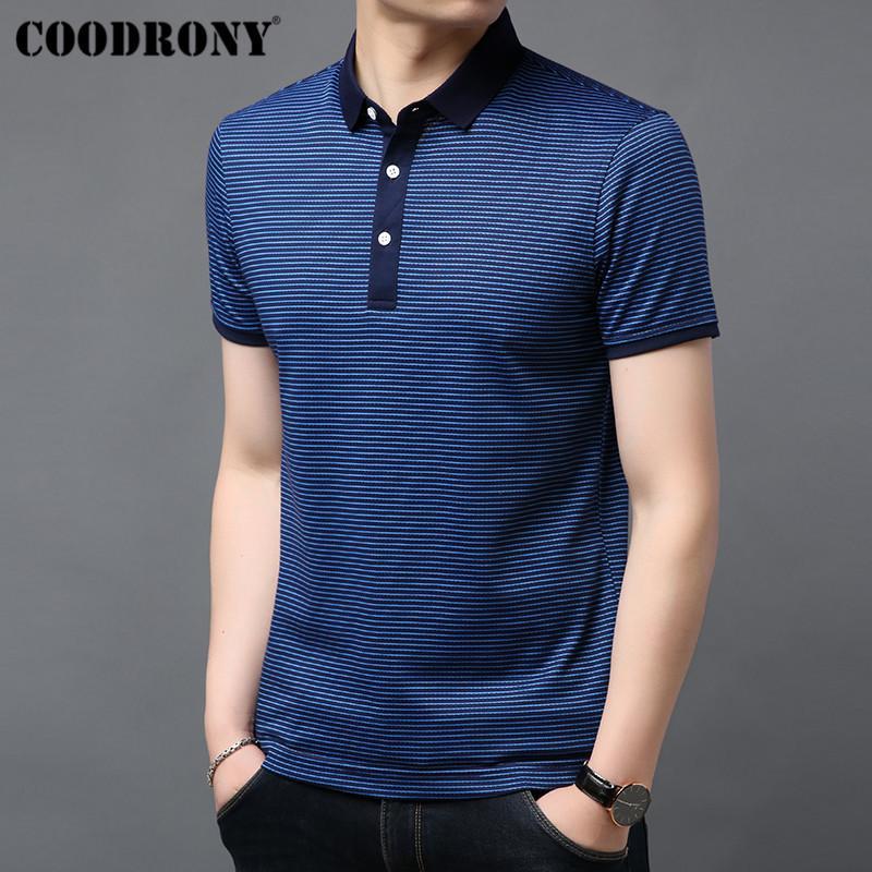 Camisetas COODRONY rayas de manga corta camiseta de algodón para hombres camiseta Business Casual camiseta de los hombres ropa de primavera y verano de los hombres de S95054 CX200710