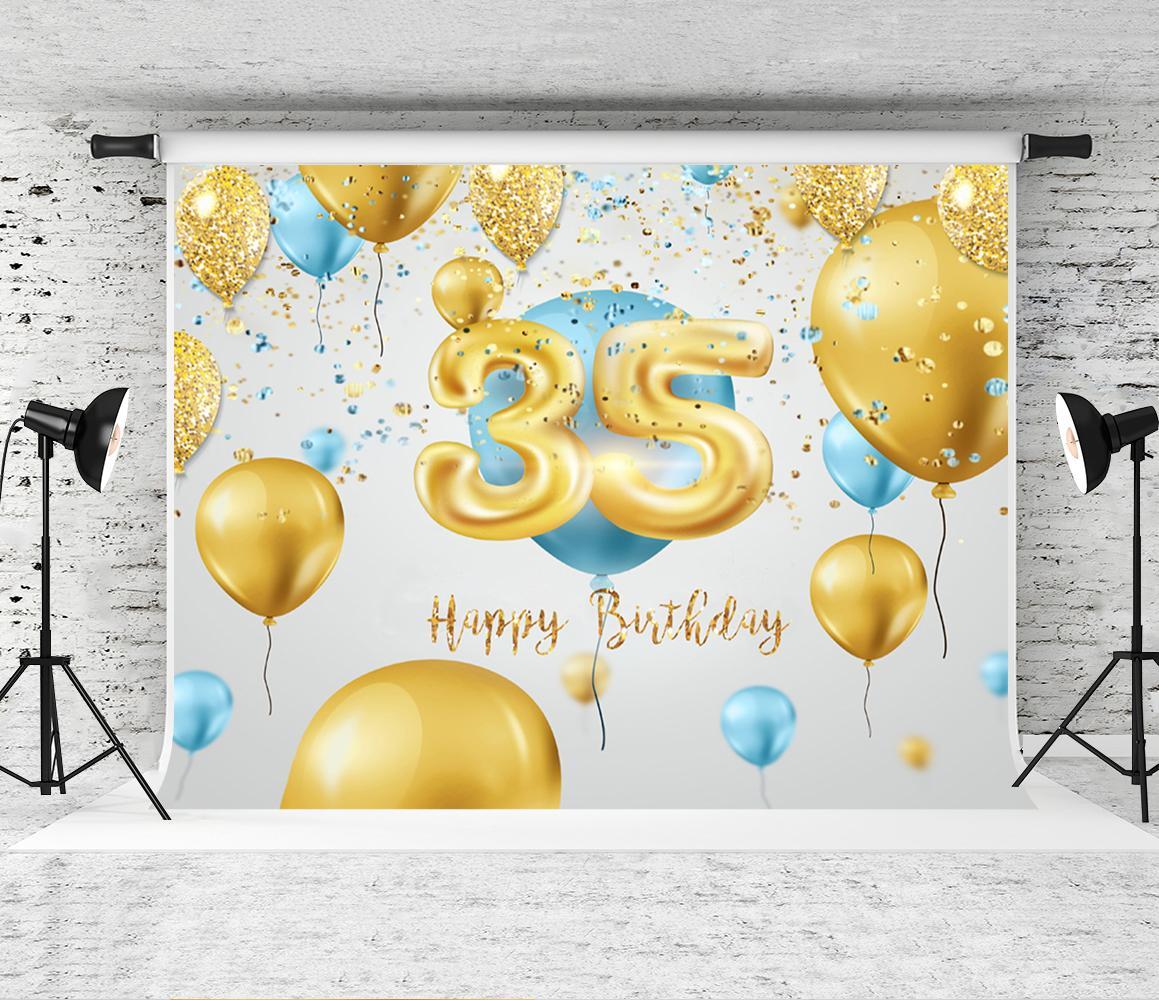 Çocuk Yetişkin vur Prop için Doğdun Backdrop 35 doğum günü partisi Fotoğrafçılık Arkaplan Altın Sarı Mavi Balonlar Dekor Backdrop