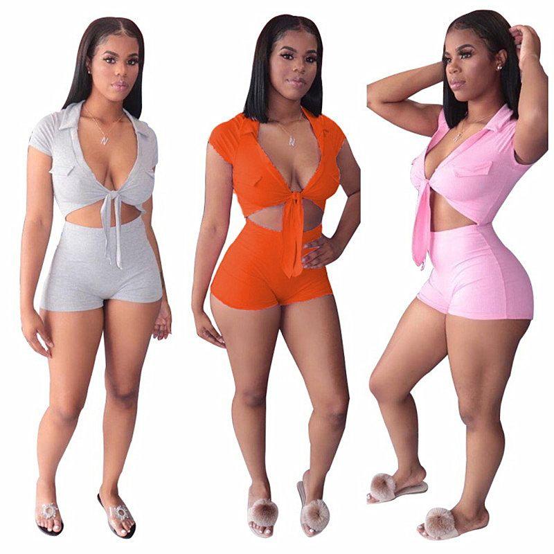 Женщины Шорты Tracksuit с коротким рукавом сексуальный бюстгальтер Футболка Crop Top + шорты 2 Piece Set Summer Футболка Эпикировка моды костюм партии одежды Продажа