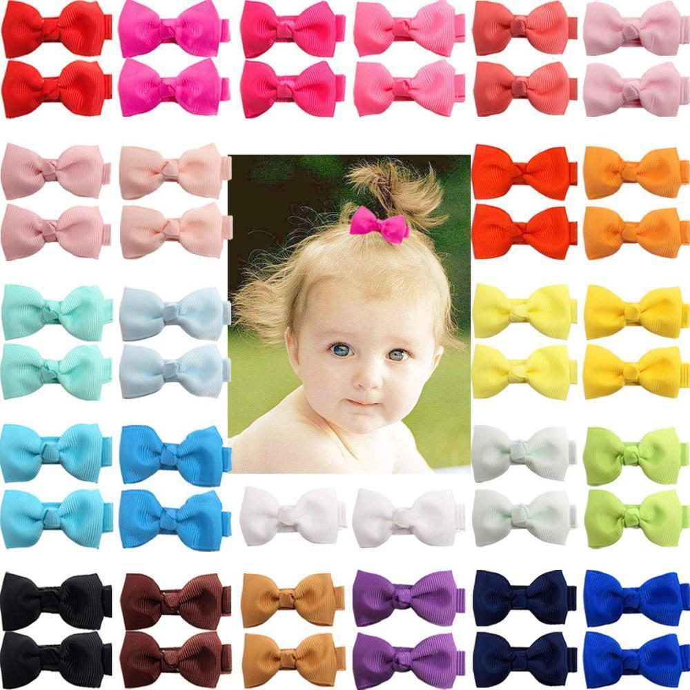 """50 Pièces 25 couleurs Boutique minuscules Bows bébé 2"""" Grosgrain Hair Bows clips non-Slip pleine fleur doublé alligator pour Bébés filles Tout-petits Y200710"""