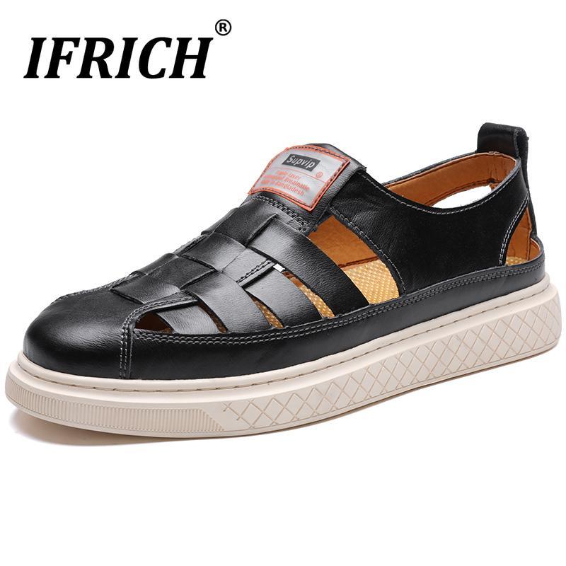 Nouveau Arrivée Outdoor Hommes Sandales Noir Hommes Sandales en cuir souple véritable Slip-on Chaussures de plage Flats confortables