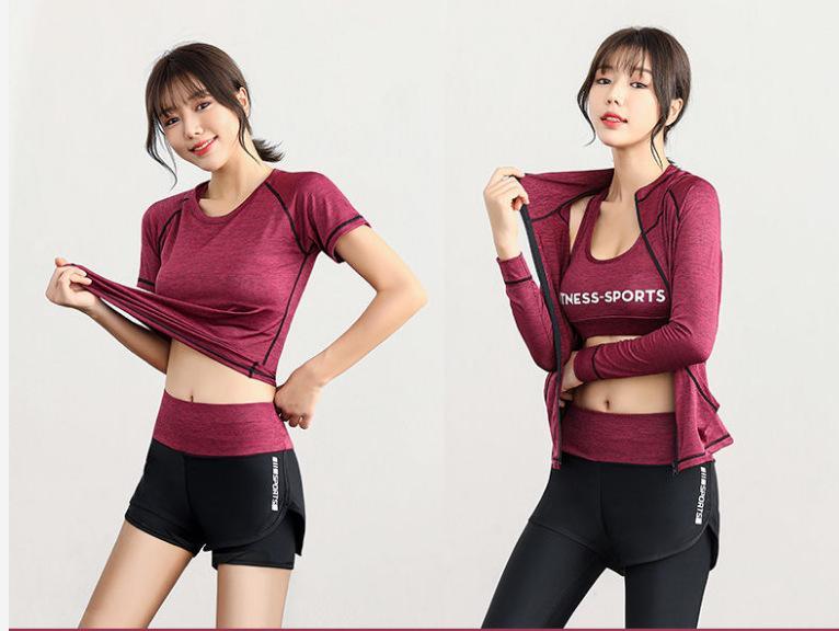 AprilGrass Marca New Yoga Set Mulheres 5pc Suit executar a atualização tecido respirável comprimido Gym roupa da aptidão do exercício Sportwear Mulheres