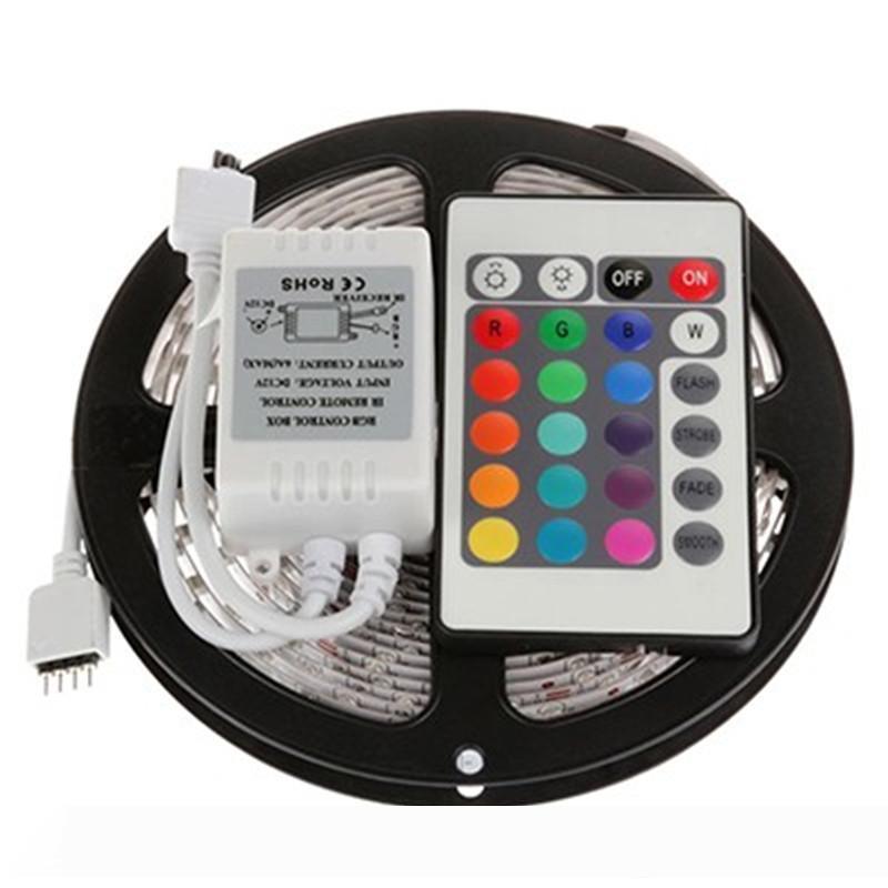 5м 3528 светодиодные полосы света RGB 5M водонепроницаемые прокладки СИД SMD3528 + 24key ИК пульт дистанционного управления
