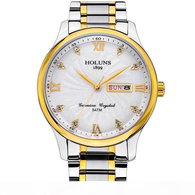Reloj de Lujo HOLUNS uomo Orologi di lusso superiore mens del quarzo della cinghia di acciaio inossidabile pieno orologi casuale semplici orologi da polso maschi montre de luxe