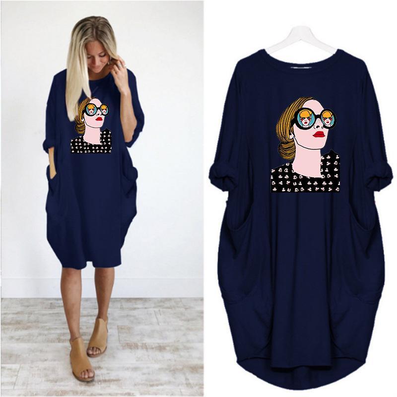 Kadın DIY Elbise 2020 Moda Yaz Sonbahar Yeni Trend Baskı Kadın Uzun kollu tişört Büyük Beden Gevşek Casual Etek S-5XL