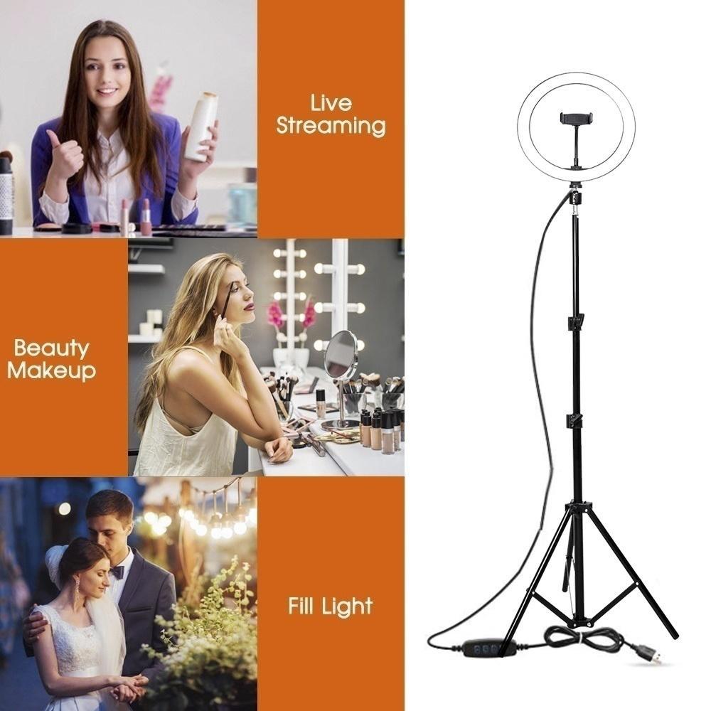 Fabbrica 16/26 centimetri Fotografia Light Ring dimmerabili 5500K trucco Fill ha condotto la lampada della luce per Video Streaming Con Phone Holder Tripod