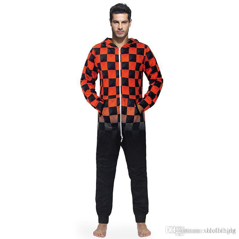 Les hommes dorment Réchauffez Teddy Toison Onesie Fluffy Lounge adulte de nuit One Piece Pyjama Homme Tenues capuche Onesies hommes Pyjama Chemise de nuit