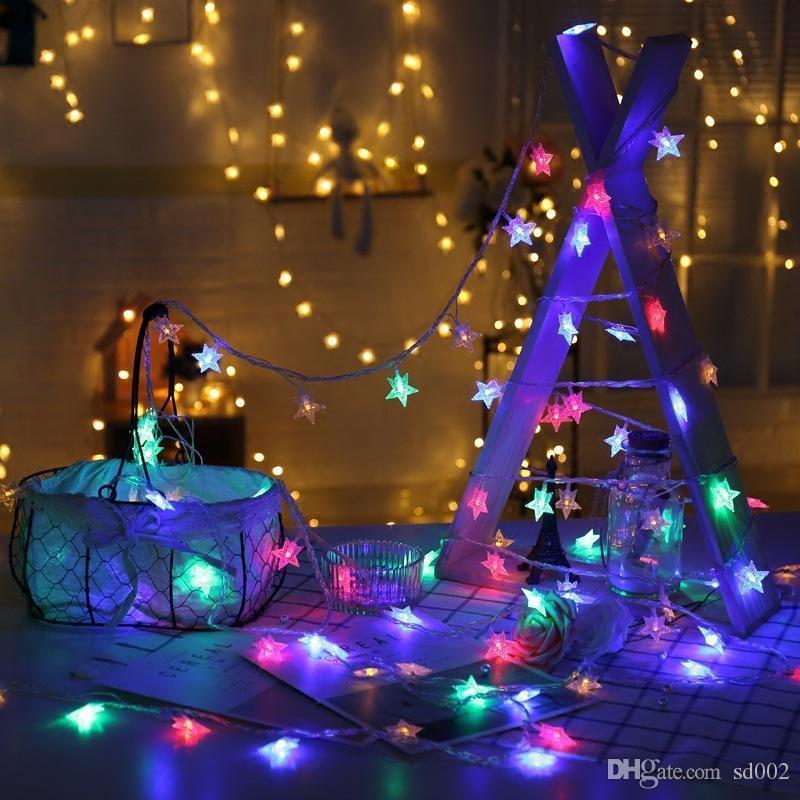 Beş Sivri Yıldız Renkli Lamba Dize LED Asma Süs Noel Günü Ev Düğün süslemeleri Stereoskopik Modu Yaratıcı 5jzC1 Malzemeleri