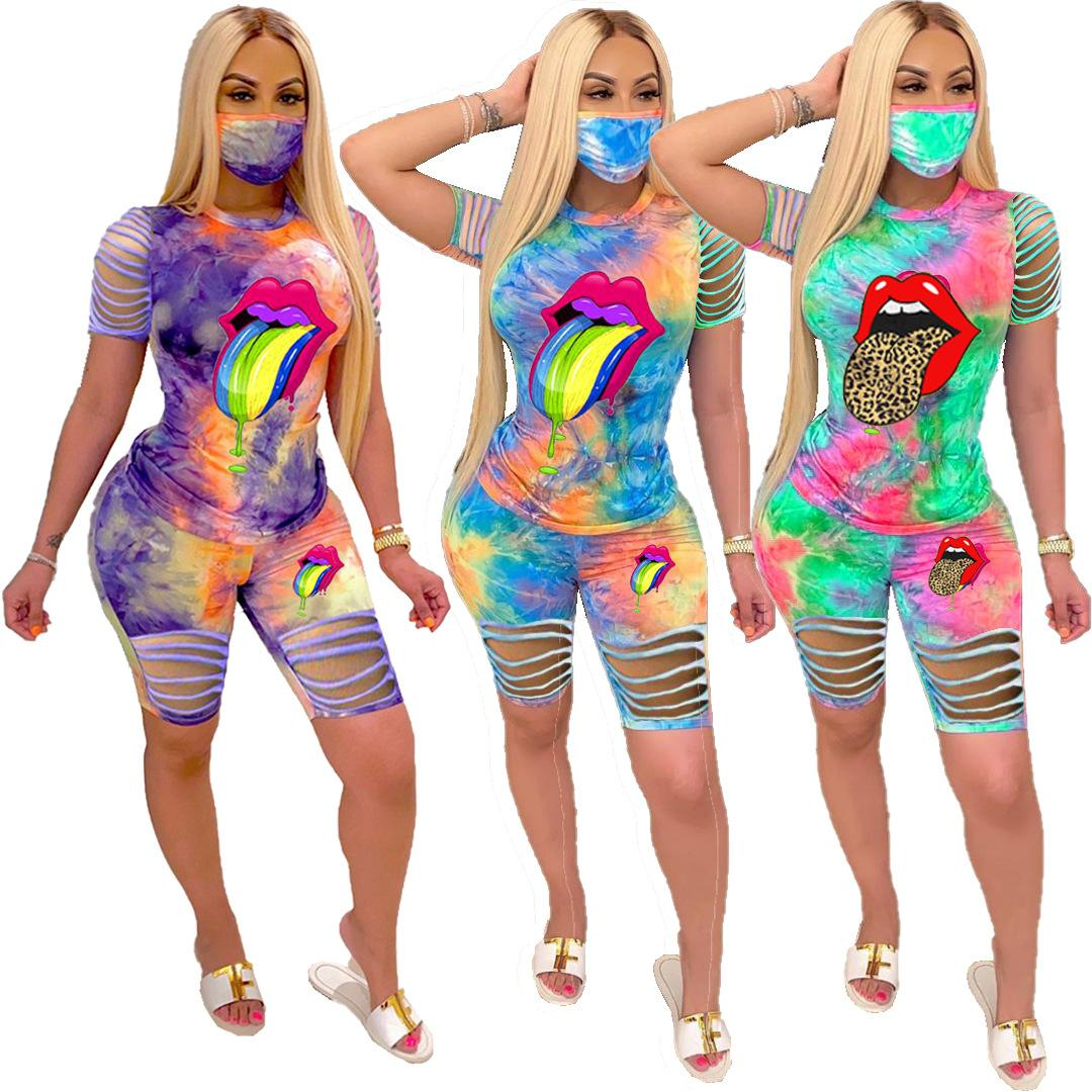 Summer Women designer clothes two piece outfits Tracksuit Tie Dye Set Casual With Face Mask Plus Size crop tops Short Sleeve lady T-Shirt
