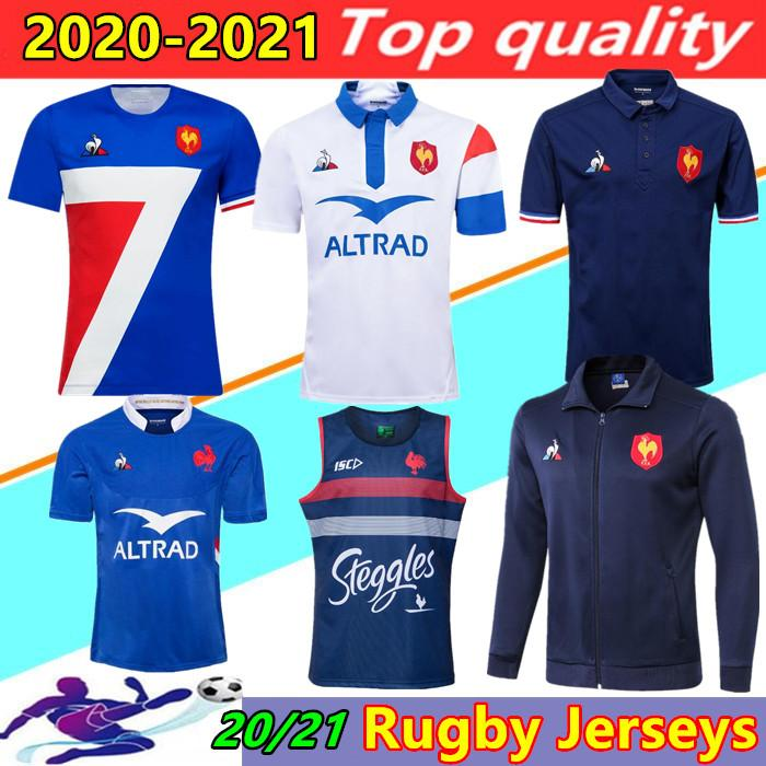 20/21 Francia Super Rugby Jerseys Gilet con Giacca 2020 2021 Francia Camicie Rugby Maillot de Foot Boln Boln Camicia da rugby Giacche Thailandia