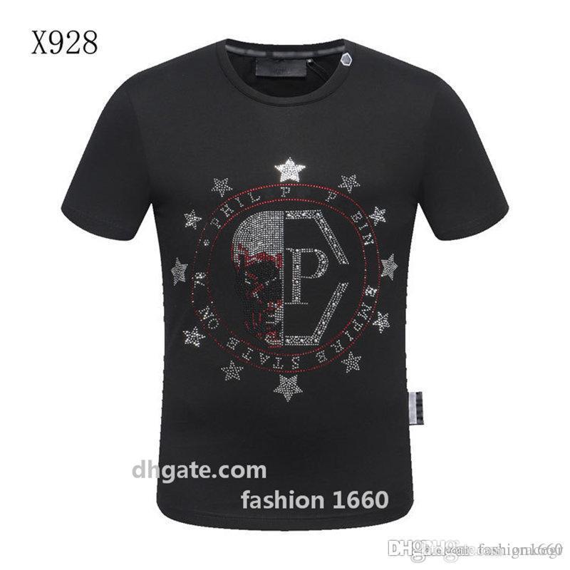 2020 أزياء قميص تي الصيف أعلى رجل الجماجم الراين تي شيرت القطن مشروط O عنق قصير الأكمام سليم المحملة القميص شحن مجاني Q3