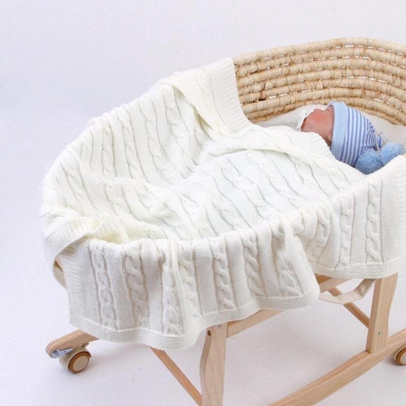 Bambino coperte a maglia di cotone di colore solido Newborn Bebes Sleeping copriletto Blanket Passeggino morbida Infantil Swaddle Wrap T175 lhen #