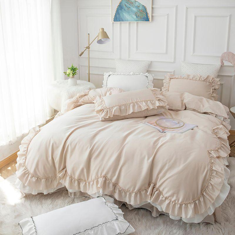 Princess Luxury Rosa Beding Imposta Re Queen Size Consolatore Bed Cover Set cotone Ruffle Champagne Copripiumino lenzuolo Set Girl casa Quilt