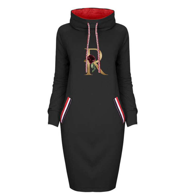 Cep Yüksek Kaliteli Kadınlar Casual Streetwear Hoodie Elbise ile Kış için Tasarımcı Kadınlar Baskılı Elbiseler Moda DIY Elbise