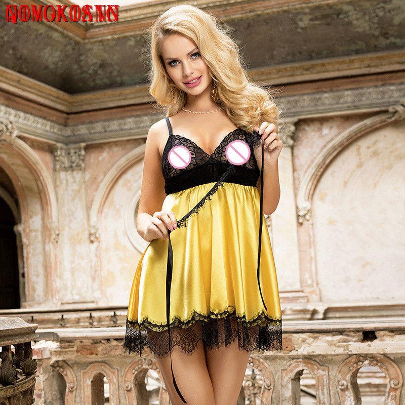 2020 Rosso Giallo Nero M-5XL Plus Size Lace Bra Nuovo breve vestito scollato erotica Chemise Donne Night Club DS Mini Sexy Underwear T200716