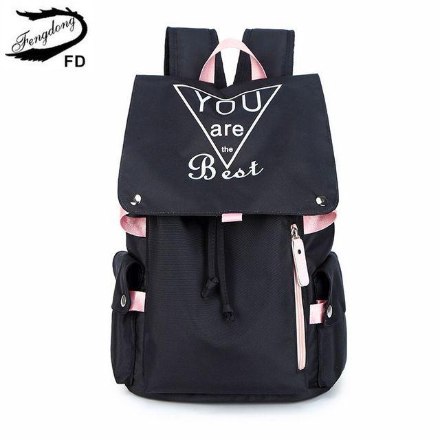 Gepäck Taschen Fengdong Teenager Mode schwarz pink großer Schulrucksack wasserdicht Buch Tasche Student Mädchen leuchtender Rucksack