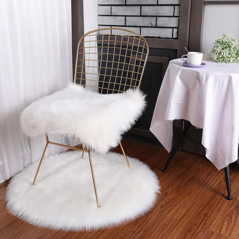 Cilected Pure White Round/Square Carpets For Living Room Grey/Pink Soft Plush Faux Fur Square Chair Cover Seat Pad Bedroom lqEL#