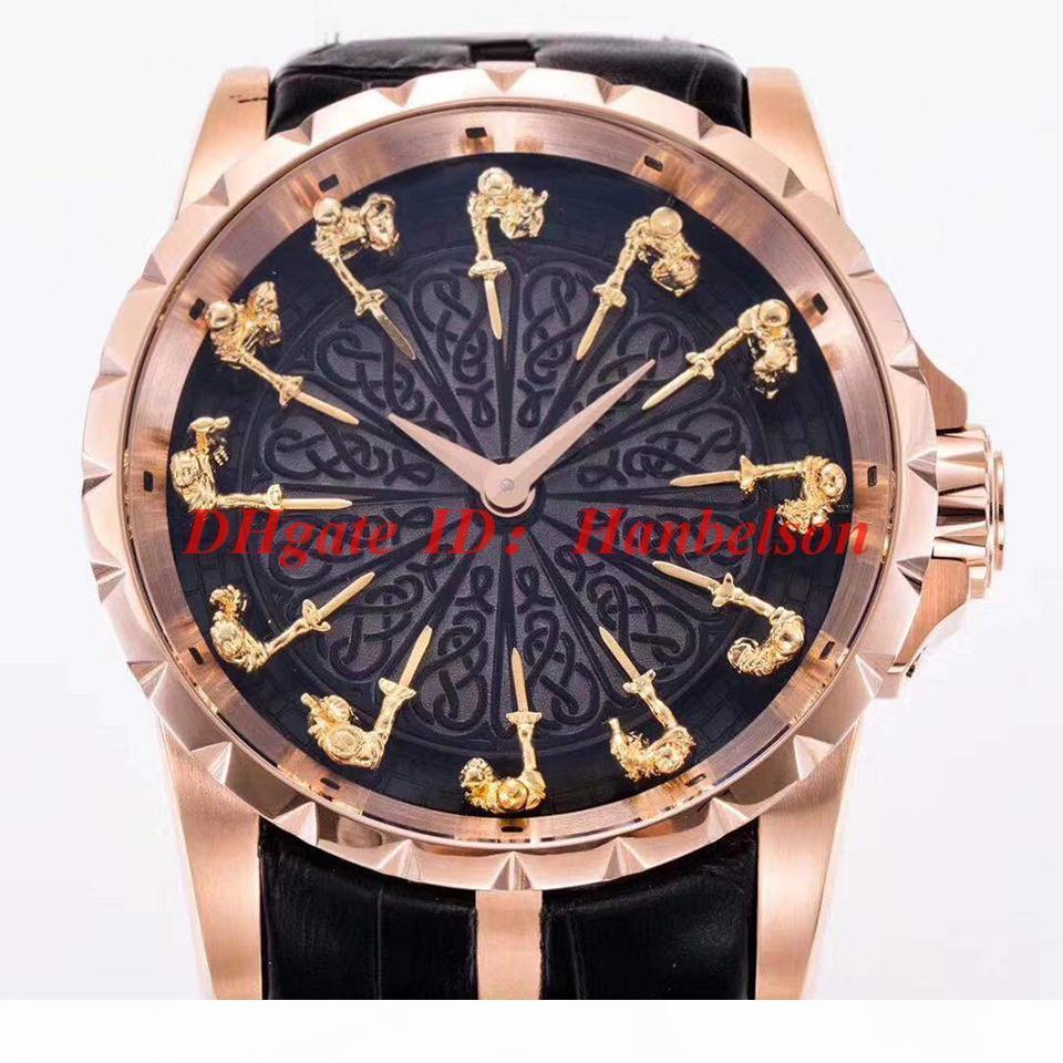 orologio di Lusso Mesa redonda hombre marcado 12 caballero de acero inoxidable RDDBEX0511 relojes de alta calidad automático 2813 del cuero movimiento