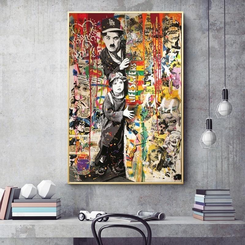 Graffiti Kunst auf Leinwand Malerei Cartoon-Straßen-Kunst Porträt Poster Drucke Abstrakte Cuadros Wandbilder für Wohnzimmer Hauptdekoration