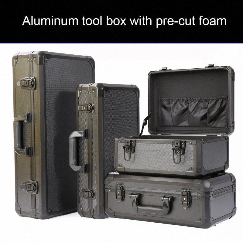 Алюминиевой коробка набора инструментов рыбалка лук и стрела ящик для хранения шкива портативной тяги алюминия для хранения с предварительно вырезанной пеной 9qvb #