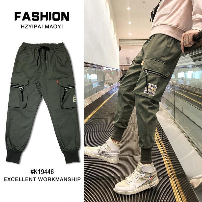 Januarysnow Fashion Brand Men's Leggings Multi Pocket Overalls Students' Casual Little Leggings Handsome Harun Pants