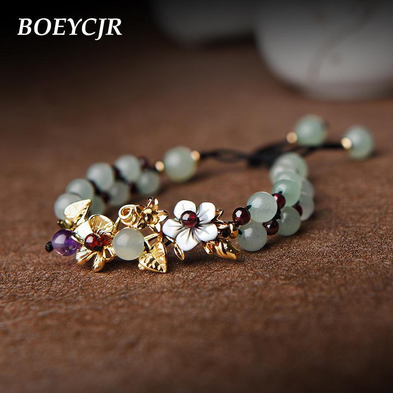 BOEYCJR vendimia cuentas de piedra brazaletes pulseras joyería hecha a mano la pulsera étnica de piedra de la energía natural de la Mujer CX200724 regalo